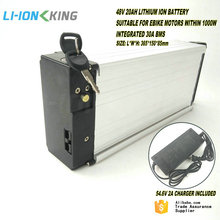 LI-ION KING Rear Rack 1000W Electric Bike Battery 48V 20Ah with 30A BMS and 2A Charger