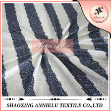 Hot sale new design white and blue stripe pattern sequin fabric