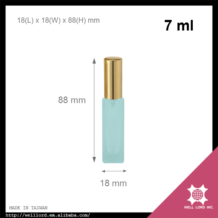 Product launch 7ml self defense light blue glass bottle empty pepper spray
