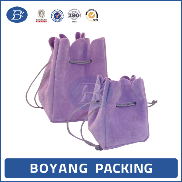 Colorful eco-friendly velvet jewelry pouch with drawstring wholesale