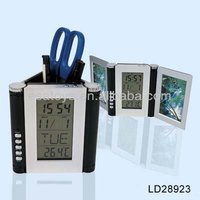 Promotion item pen holder with clock LD28923