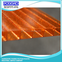 Weather resistance, easy cutting clear polycarbonate roofing panel twin wall hollow sheet