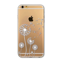 Phone Case for iPhone6 6s 4.7'' Transparent White Dandelion painting PC Hard cover