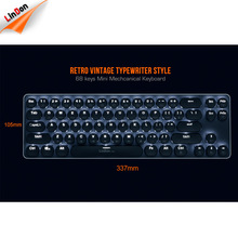 Double Shot Injection Backlight Retro Typewriter Style Wired Mechanical Keyboard With Round Keycaps