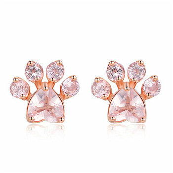 Hot Sale Cat Paw Rose Gold Stud Earrings Christmas Ornaments fashion Earrings for women hot sale jewelry