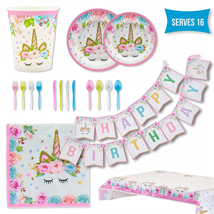 Unicorn Party Supplies Set Girls Birthday <strong>Decorations</strong> for Kids Serves 16 Guests