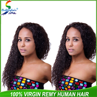 Seditty brazilian virgin human hair front lace wig deep wave 20inch natural color