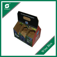 COLOR PRINTED CORRUGATED WINE BOX WITH HANDLE CARRIER BOX