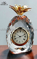 Clear Glass Fruit K9 Crystal Pineapple Desktop Clock For Decoration Gift.