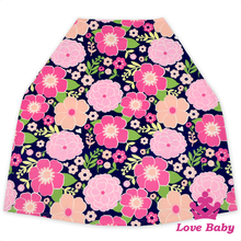 CT-83 Yiwu Lovebaby Wholesale Faux Suede hot pink floral print 2pcs full set infrent free size baby car seat cover