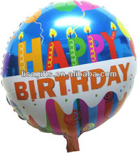 Happy Birthday Printed 18'' foil balloons with candles