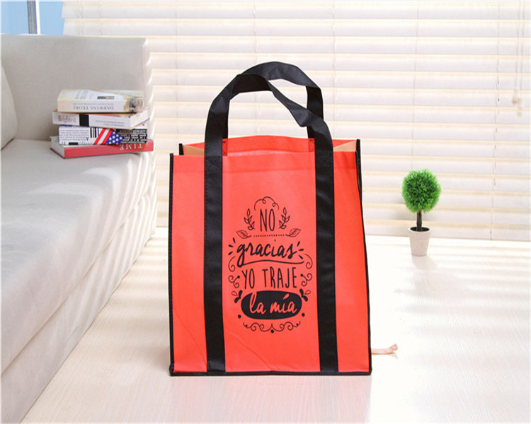 Mihong factory directly sale supermarket promotion loop handle laminated pp non woven bag china