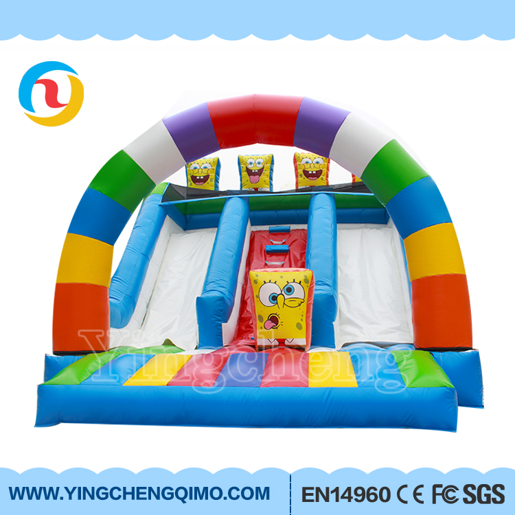 High Quality cheap HD printing outdoor giant SpongeBob bouncer Inflatable Slide for kid