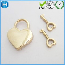 Cute Heart Shape Gold Metal Pad Lock And Key Padlock With Key