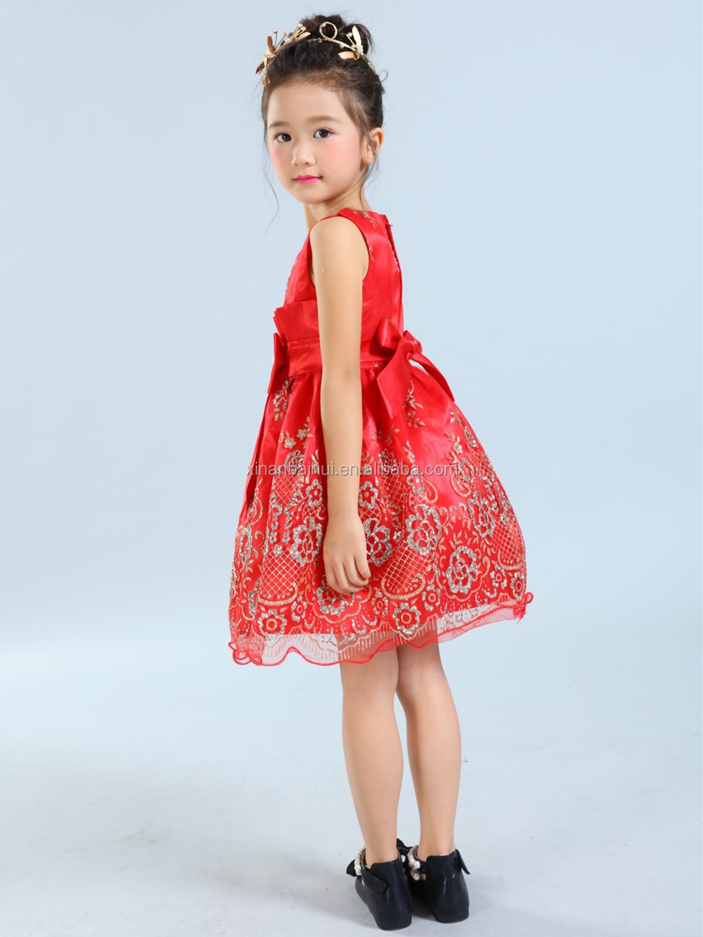 Elegant red girl baby derss princess party dress with bow flower tutu dress for 3years kids baby Christening Gown