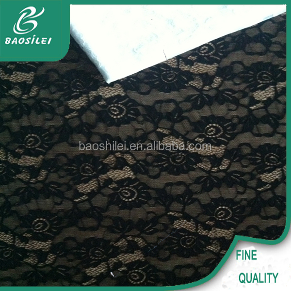 2015 New arrive lace fabric black guipure lace saree and lace fabric for women garment