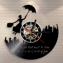 Mary Poppins Vinyl Record Clock Modern Wall Decoration Hanging Art Timepiece Quartz Movement Art Gift
