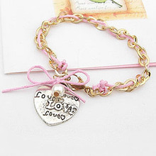 candygirl brand hand made custom fashion women accessories bangle with charms jewelry leather bracelet