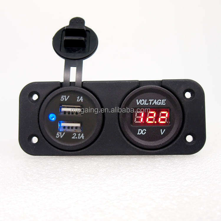 3.1A with aperture dual USB blue 12V LED panel Digital Meter Display Voltmeter Auto Meter