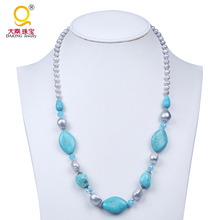fashion synthetic turquoise stone necklace with grey freshwater pearl jewelry