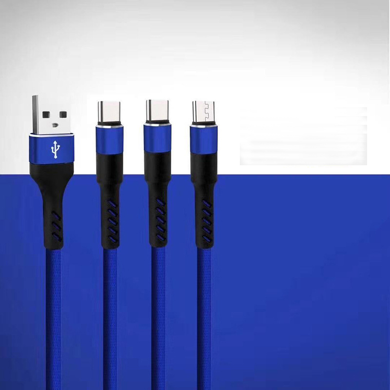 New Arrival High Quality Custom Logo 3FT Metal Head 3 in 1 Usb Mobile Phone Charging Cable For Samsung  HuaWei