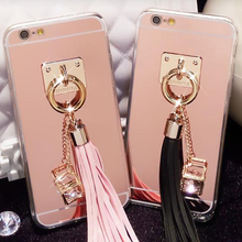 New Fashionable Electroplating Mirror Cell Phone Case for iPhone 6 Tassels Back Cover