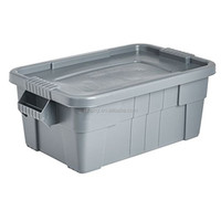 Tote Storage Bin with Lid, 14-Gallon, Gray high-density polyethylene easy lifting and moving.