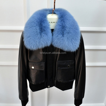 Women Real GENUINE SHEEP LEATHER JACKET with fox fur collar lady fashion sheepskin short coat Female Winter Style