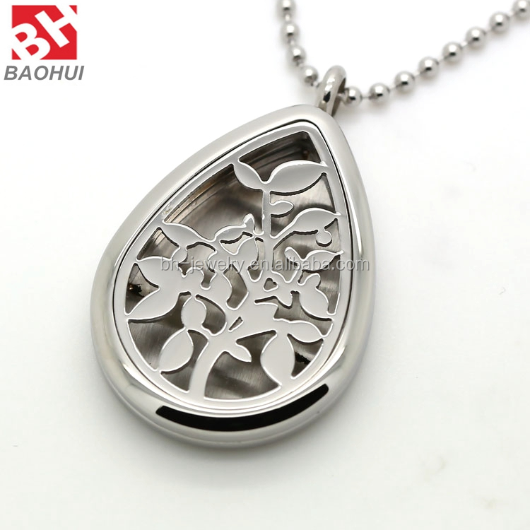 2016 Hot Product 20/25/30MM Water Drop Shape Silver Polishing 316L Stainless Steel Tree Essential Oil Diffuser Necklace Locket