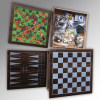 4 in 1 wooden checkers and chess and backgamon games