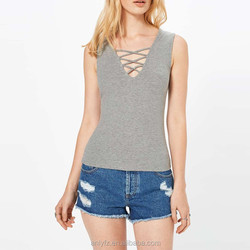 Grey jersey sleeveless rib top with a V neckline designer western tops images for ladies