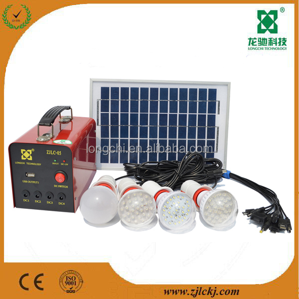 5W mini solar home lighting system / portable 12v DC solar kits for camping