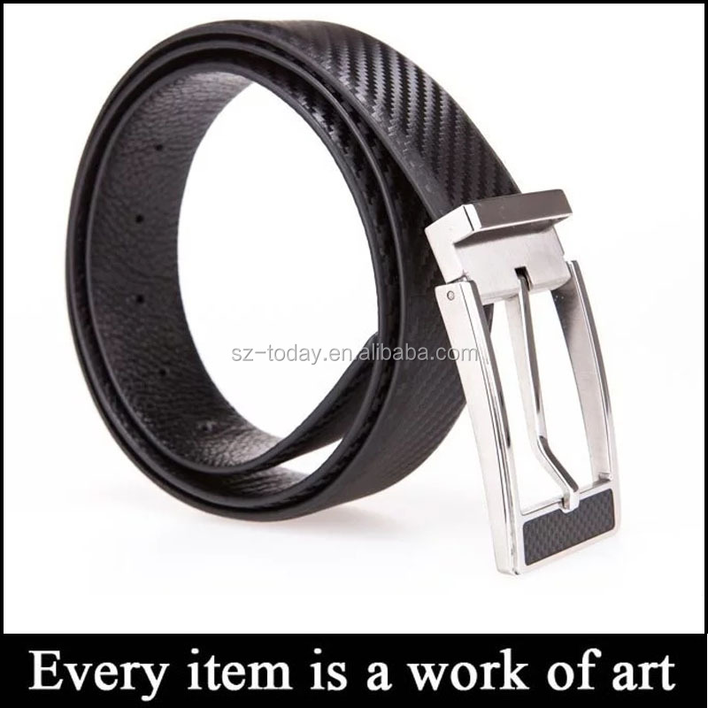 Factory solid zinc alloy buckle carbon fiber belt western belt