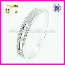 Fashion jewelry 925 steling silver jamaica bangle cz paved slideable elegant bangle bracelet
