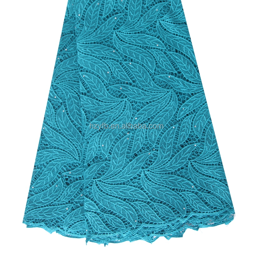 Teal blue wholesale korean lace embroidery fabric / High fashion nigeria guipure lace for wedding dresses