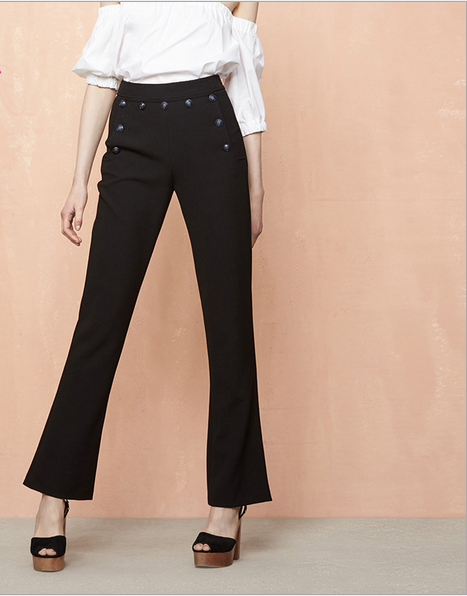 C50321A Hight quality women's temperament professional button high waist casual trousers
