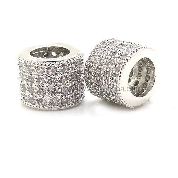 sterling silver large European micro pave tube large hole pave beads