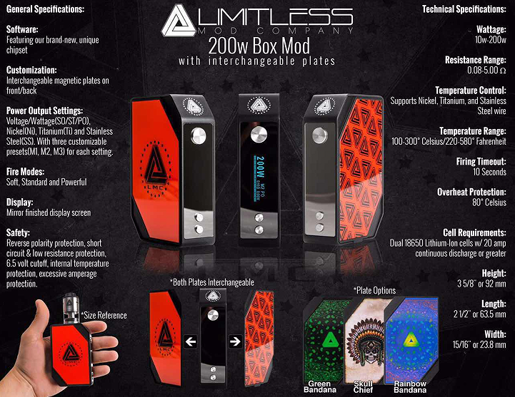 American made original limitless mech box mod and RDA offered by Ave40 in cheap price