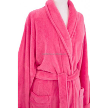 Women's Full Length Shawl Collar Velour Microfiber Fleece Bathrobe, Soft Fleece Bath Robe,Spa Robe
