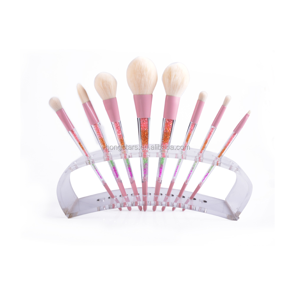 Beauty Glitter Handle Pink Makeup Brush Set Natural Hair With Acrylic Block