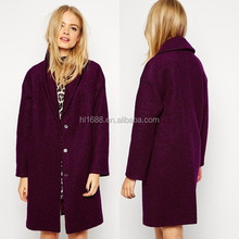 European new winter women's small collar lining of trench coat woollen coats women fashion