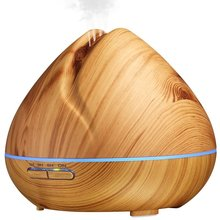 Shark Mouth Ultrasonic 400ml Wooden Aroma Diffuser for Bedroom Office Yoga