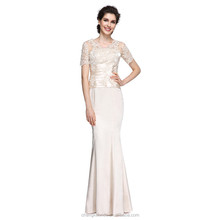 Mermaid / Trumpet V Neck Ankle Length Champagne Mother of the Bride Dress with Lace