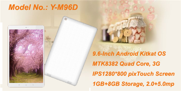 9.6-Inch android 4.4 IPS 1280*800 MTK8382 3G phablet