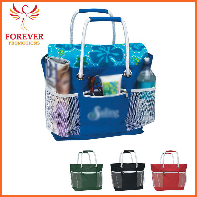 New Design Promotional Nylon Travel Tote Bag With Rope Handles And Mesh Pockets