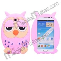 3D Animal Cute Stylish Cartoon Owl Soft Silicone Case for Samsung Galaxy Note 2 N7100 Protective Case