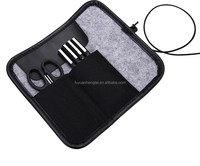 Brief design polyester felt pen bag pencil bag grey and darkgrey for businessmen and office