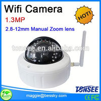 Auto Zoom lens wireless IP Dome camera for indoor Support Mobilephone View with P2P,peephole door camera ip