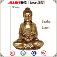 "15""sitting fiberglass buddha statue wholesale, gold resin buddha statue for sale"