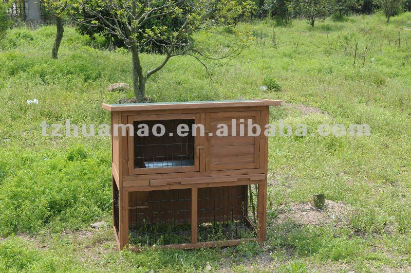 Wooden 2 Story Rabbit Hutch